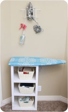 Station: The DIY customized fabric ironing board tutorial. Perfect for small spaces, this DIY ironing station can fit in a corner or side of a room.Perfect for small spaces, this DIY ironing station can fit in a corner or side of a room. Sewing Spaces, My Sewing Room, Sewing Rooms, Small Sewing Space, Sewing Room Organization, Craft Room Storage, Craft Rooms, Diy Storage, Storage Shelves