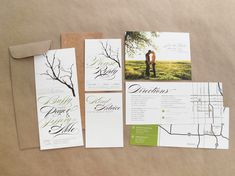 Branch Wedding Invitations With Twine Wrapping, Brown Paper Envelopes, and Cork Backing... interesting choice of materials, all are favorites.  The font is a little much but I love the branch design.