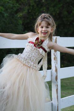 cream, ivory, burgundy vintage fall flower girl dress for wedding, photoprop, birthday. $85.00, via Etsy.