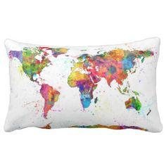 Watercolor Map Pillows - Watercolor Map Throw Pillows   Zazzle