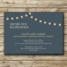 Gender Reveal Invitation Star Baby Shower by designingforpeanuts