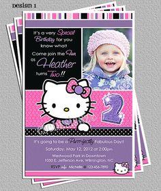 Hello Kitty Birthday Party Photo Invitations DIY by cgcdesignz,