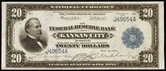 United States banknotes 20 Dollar Federal Reserve Bank Note Series of 1915 Kansas City  Portrait of Grover Cleveland on the left hand side of the bill.