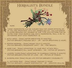 Equipment cards for DnD / Pathfinder Herbalist's bundle - A small cluster of magically potent Flora and fungi. Often found in the hands of potion makers and healers of all kinds. Fantasy Weapons, Fantasy Rpg, Fantasy World, Dungeons And Dragons Homebrew, D&d Dungeons And Dragons, Dnd Druid, Pen & Paper, Dungeon Master's Guide, Dnd 5e Homebrew