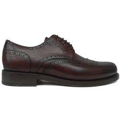 Zapato blucher pala vega en burdeos con suela de cuero de Berwick vista lateral