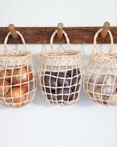 Home Decor Grey Sugar Tools Onion Basket.Home Decor Grey Sugar Tools Onion Basket Kitchen Pantry, Kitchen Decor, Shaker Kitchen, Kitchen Baskets, Family Kitchen, Kitchen Tools, Kitchen Ideas, Kitchen Organization, Storage Organization