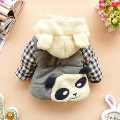 12m,18m,24m,2y,3y,4y baby winter coat toddler clothes cartoon coat panda - plaid coat