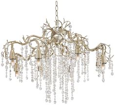 """Silver Champagne Branches 30"""" Wide Crystal Chandelier 