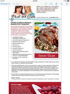 Balsamic Pork Tenderloins, Twitter Tips, Cooking Recipes, Healthy Recipes, Pork Roast, Weight Watchers Meals, Great Recipes, Nutrition