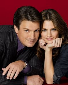 "Rick Castle (Nathan Fillion) and Kate Beckett (Stana Katic) of ABC's ""Castle"""