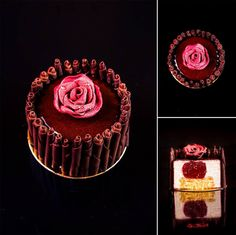 """""""Beauty and the beast""""... Composition: yoghurt sponge cake with passion fruit; yoghurt mousse with vanilla; confit with raspberry, passion fruit and rose. Chocolate decorations."""