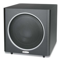 The POLK AUDIO PSW125 powered subwoofer is the King of the PSW Series. The end-all, with a powerful 12-inch composite woofer driven by a high-power intelligent amplifier (150W continuous/300W peak!). The best subwoofer for big rooms and big systems, the PSW125 delivers smooth, musical bass at lifelike volumes; it's truly groundbreaking.  PSW125 Features: • Heavy-duty MDF construction is designed and engineered for perfect volume, minutely tuned for distortion-free low frequencies, and…