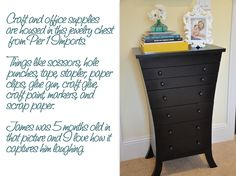 Jewellery Chest from Pier 1 {Great idea ~ they've used it for office supplies.  Would be interesting in my office!}