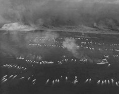 The first wave of landing craft at Iwo Jima 19 February 1945.