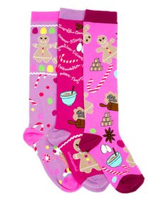 This Pink Gingerbread Knee-High Sock Set is perfect! #zulilyfinds