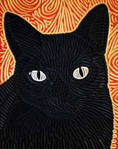 black cat, painted woodcut block  by Lisa Brawn