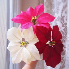 Trio crepe paper #poinsettia ☃Which color do you like?  100%HANDMADE by Ameli Cheng from Ameli's Lovely Creations