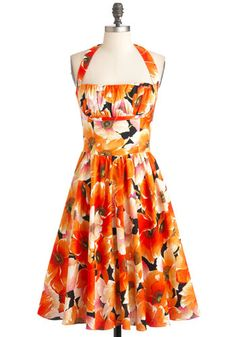 Yours Always Dress in Poppies, #ModCloth    Love this dress, but I wish it still came in the fabric pattern that was off-white with the light blue writing on it