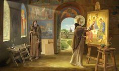 picture showing Saint Andrei Rublev, the Orthodox iconographer Russian Painting, Russian Art, Andrei Rublev, Christian Artwork, Religious Paintings, Byzantine Art, Catholic Art, Catholic Churches, Orthodox Icons