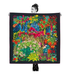 Black Astrid Gardens print silk scarf from the Liberty London Scarves collection