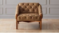 Abruzzo Brown Leather Tufted Chair |