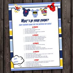 whats in your phone superhero baby shower by AmysDesignShoppe