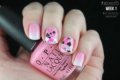 Nerdic Nails: #ablecs15 Week 1: Will You Be My Valentine?. OPI - Chic From Ears To Tail / Essie - Blanc / KBShimmer - U Rock My Heart. Valentine's Day Nail Art.