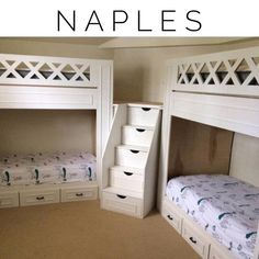 """Naples bunk beds, adult """"L"""" quad bunk beds - This L-shaped twin quad bunk configuration is perfect for the kids bedroom or the guest bedroom. Corner Bunk Beds, Bunk Bed Rooms, Bunk Beds Built In, Modern Bunk Beds, Cool Bunk Beds, Bunk Beds With Stairs, Kids Bunk Beds, L Shaped Bunk Beds, Painted Bunk Beds"""