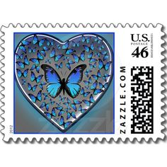 blue butterflies heart stamps