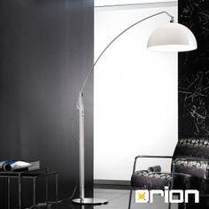 Laisa Floor Lamp, satin chrome finish with white shade