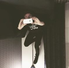 I thought Josh was floating, then I realized he's on his back and the pic is upside down XD