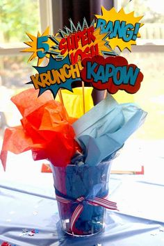 Superhero Birthday Party Printables from Fun, bold printables to make your superhero party amazing! Every little detail is coordinated. Love that this is just superhero in general and not a specific character! Avengers Birthday, Superhero Birthday Party, Birthday Party Themes, 5th Birthday, Birthday Ideas, Backyard Birthday, Birthday Party Centerpieces, Birthday Table, Birthday Decorations