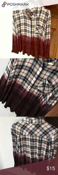 Ombré Flannel💕 Soft ombré plaid shirt. Blue and maroon stripes with a cream background and maroon ombré. Button down, never worn was purchased at Nordstrom Rack in Oct. Tops Button Down Shirts