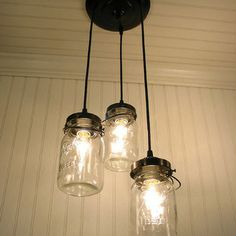Vintage Canning Jar Chandelier by LampGoods - eclectic - pendant lighting - Etsy I adore this. Chandelier Redo, Mason Jar Chandelier, Mason Jar Lighting, Vintage Chandelier, Mason Jar Lamp, Chandelier Lighting, Vintage Lighting, Porch Lighting, Kitchen Lighting