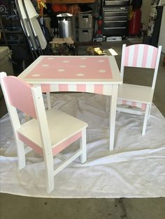 Old toddler/kids table and chairs- pink and white diy painted stripes and polka dots. :)