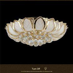 Round Golden Metal Luxury Crystal Ceiling Lamp CL186 – Cheerhuzz