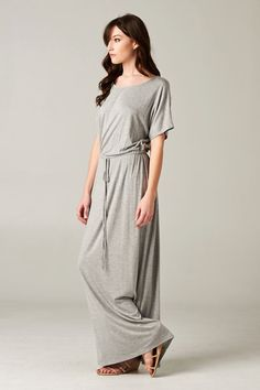 Modest Grey Boyfriend Maxi Dress with Short Sleeves | Mode-sty #nolayering