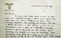 Letter written to son on Hitler's stationery. Hitler may have been a terrible man, but his stationery is beautiful.