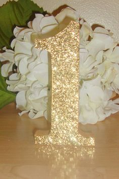 Self Standing Glitter Table Numbers Wedding Reception Centerpiece Wood Wooden