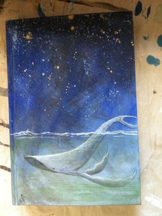 Sketchbook cover design - humpback whale, original art by Aprille Lipton