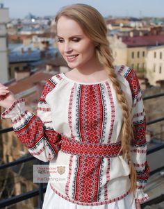 Linen peasant blouse ''Red Ladushka'' | RusClothing.com
