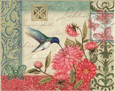 Gravura decoupagem pássaro