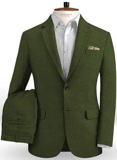0febf4a9a0 Safari Olive Green Cotton Linen Suit   StudioSuits  Made To Measure Custom  Suits