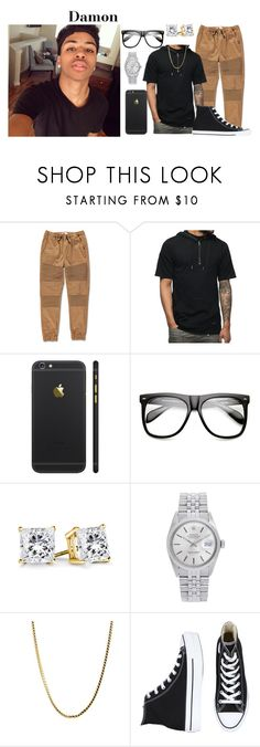 Going to Vegas by sydney-ms on Polyvore featuring Rolex, Lira, Converse, INDIE HAIR, men's fashion and menswear