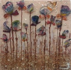 Glorious Glass Flowers by American Artist, Anna Fenimore Sea Glass Crafts, Sea Glass Art, Mosaic Glass, Broken Glass Art, Shattered Glass, Mosaic Flowers, Glass Flowers, Smash Glass, Crushed Glass