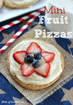 These Mini Fruit Pizzas are so easy and so good. You will LOVE the cream cheese frosting!