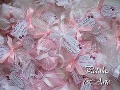 Sache Coração Rosa  Sache perfumado, confeccionado como lembrancinha de nascimento.