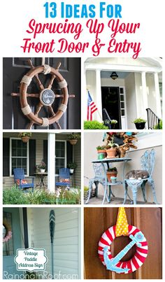 Easy ideas for decorating your front door and entryway. Easy ideas for decorating your front door and entryway. Outdoor Spaces, Outdoor Decor, Outdoor Ideas, Garden Illustration, Entry Doors, Entryway, Entrance, Palette, Front Door Decor