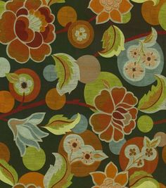 Upholstery Fabric-Richloom Studio Esme Graffiti I like this a lot.  It is very similar to the pattern on some pillows that I have in the office.  I think it comes (or a similar fabric) with either a black or brown background.  I'm not sure about the floral with your rug.  It may be different enough that it won't matter but the samples we had at your house that were floral didn't really complement the rug.