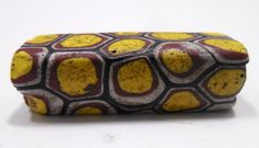 Vintage/Antique African Tribal Trade Bead, YELLOW Rectangle Trade Bead with Blue, Rust, White, Tribal Beads, Millefiori Beads, Venetian Bead by Beadgarden55 on Etsy